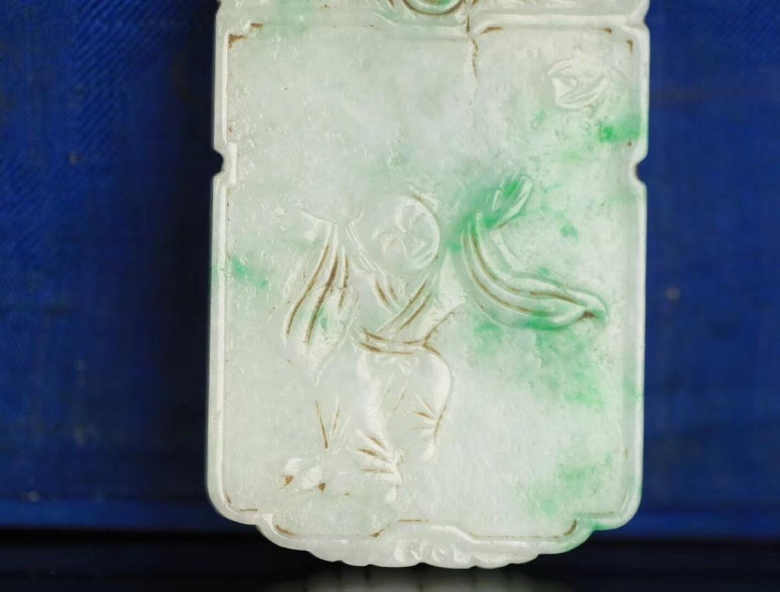 A JADEITE CARVED CHARACTER STORY PATTERN PENDANT - 6