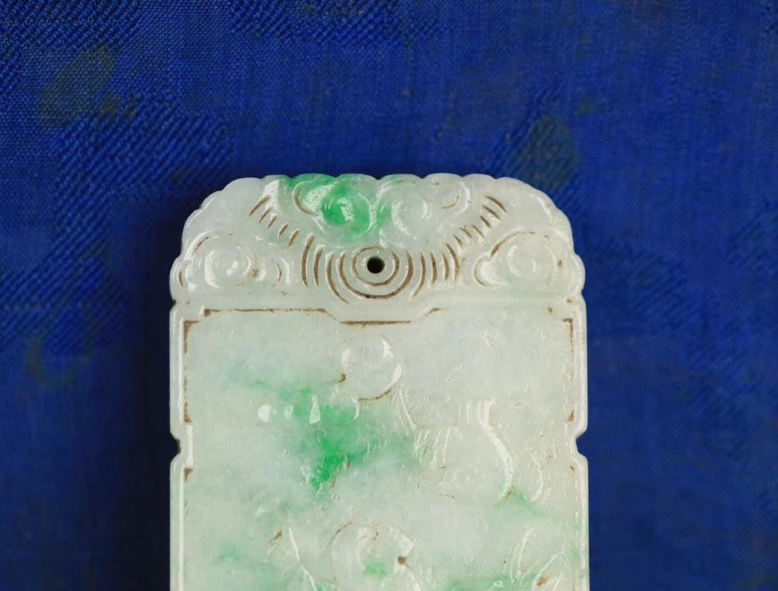 A JADEITE CARVED CHARACTER STORY PATTERN PENDANT - 7