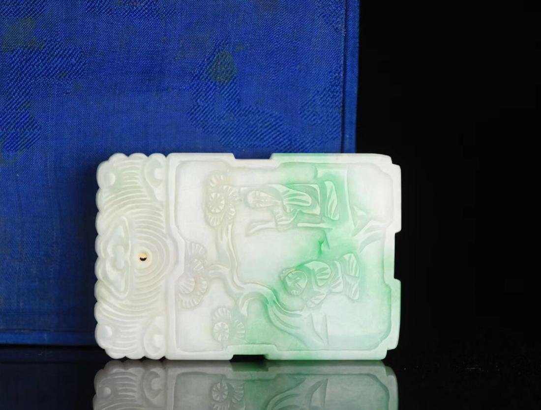 A JADEITE CARVED CHARACTER STORY PATTERN PENDANT - 3