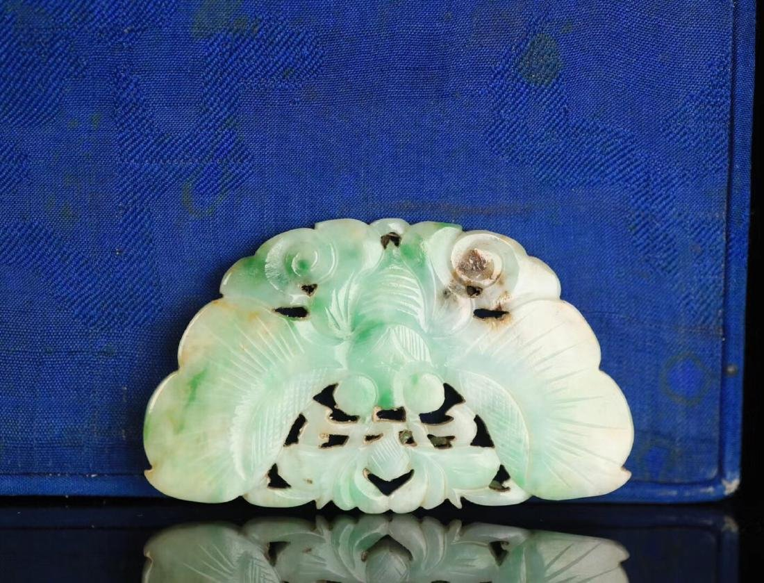 A JADEITE CARVED BUTTERFLY SHAPED PENDANT - 3
