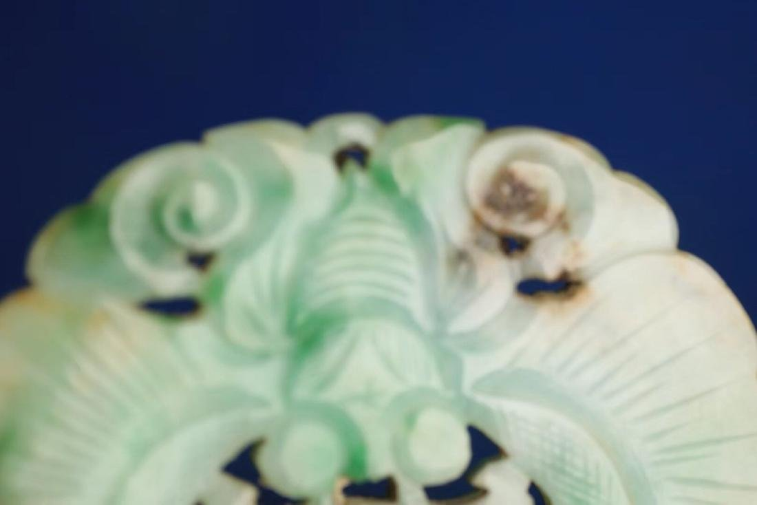 A JADEITE CARVED BUTTERFLY SHAPED PENDANT - 7
