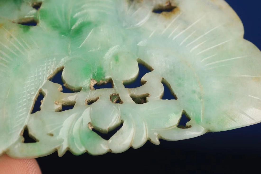 A JADEITE CARVED BUTTERFLY SHAPED PENDANT - 8