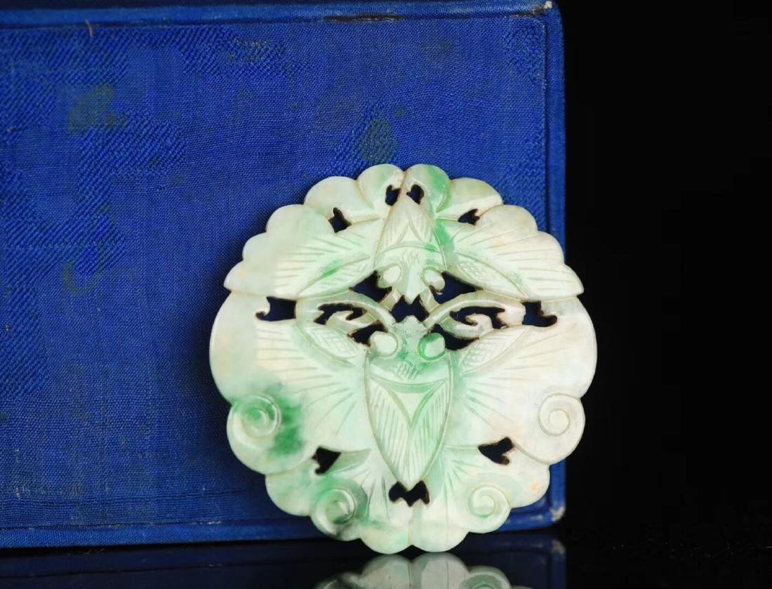 A JADEITE CARVED CIRCLE BUTTERFLY SHAPED PENDANT - 2