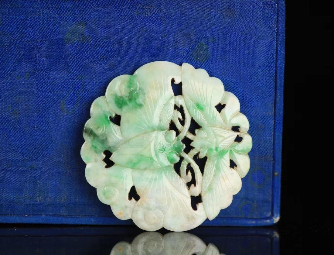 A JADEITE CARVED CIRCLE BUTTERFLY SHAPED PENDANT - 3