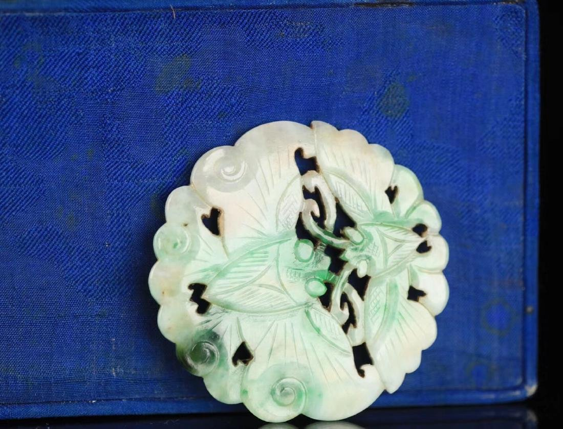 A JADEITE CARVED CIRCLE BUTTERFLY SHAPED PENDANT - 4