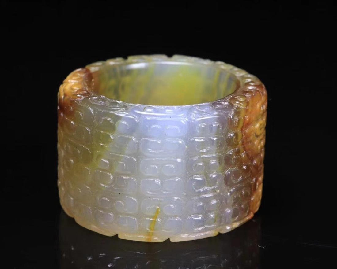 A OLD AGATE ARCHER RING - 3