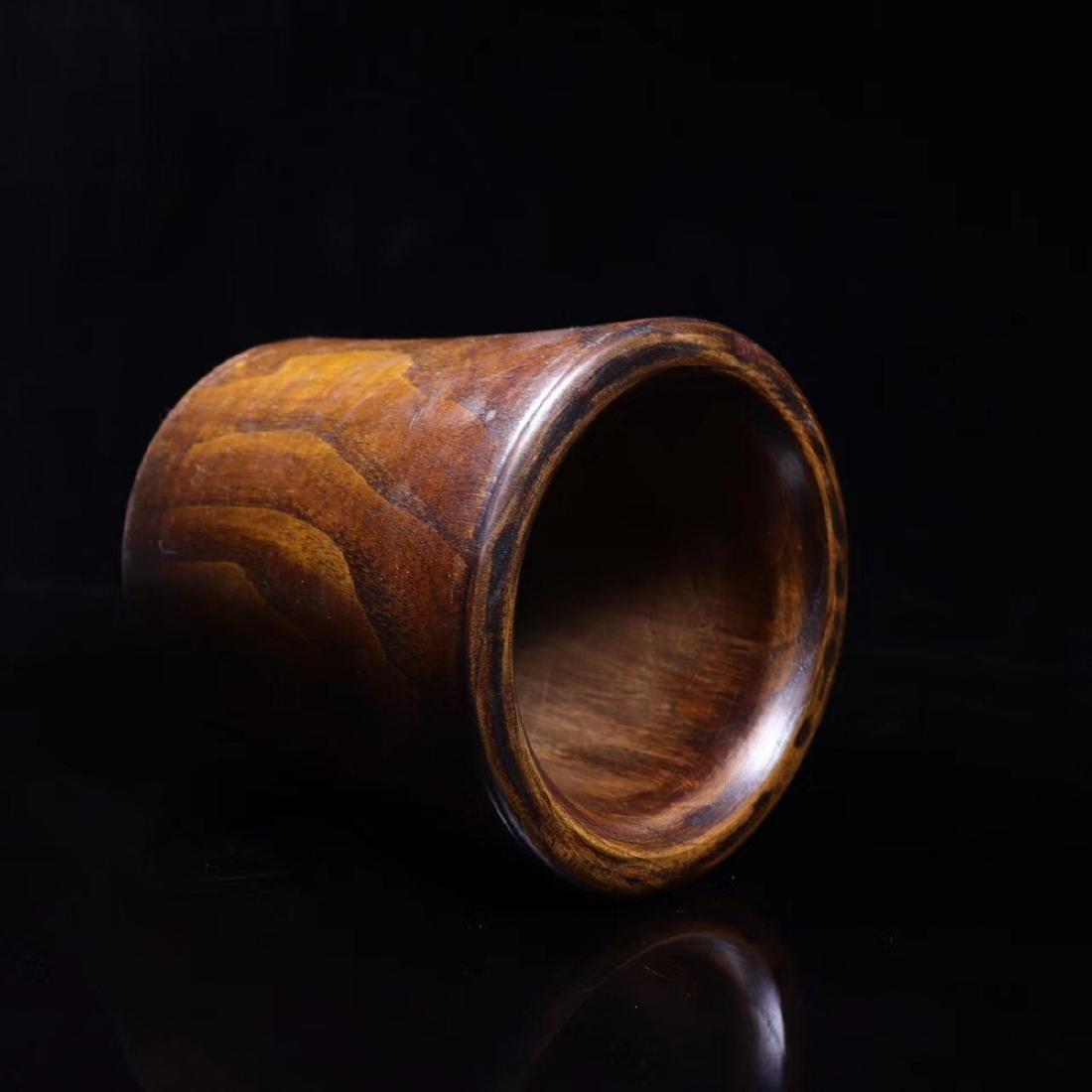 A HUANGHUA WOOD PEN HOLDER - 6