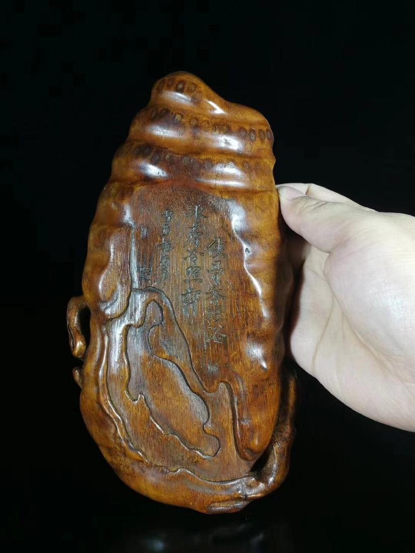 A BAMBOO CARVED MEI FLOWER WASHER - 3