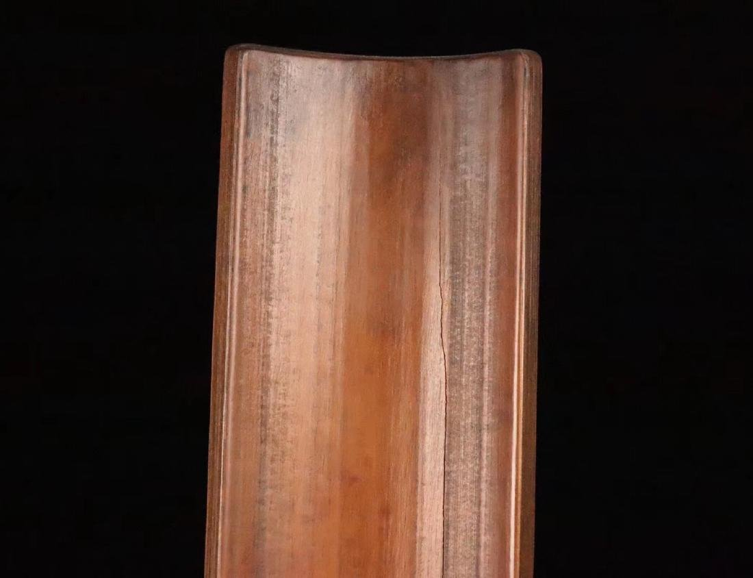 A BAMBOO CARVED POETRY PATTERN ARM SHELF - 8