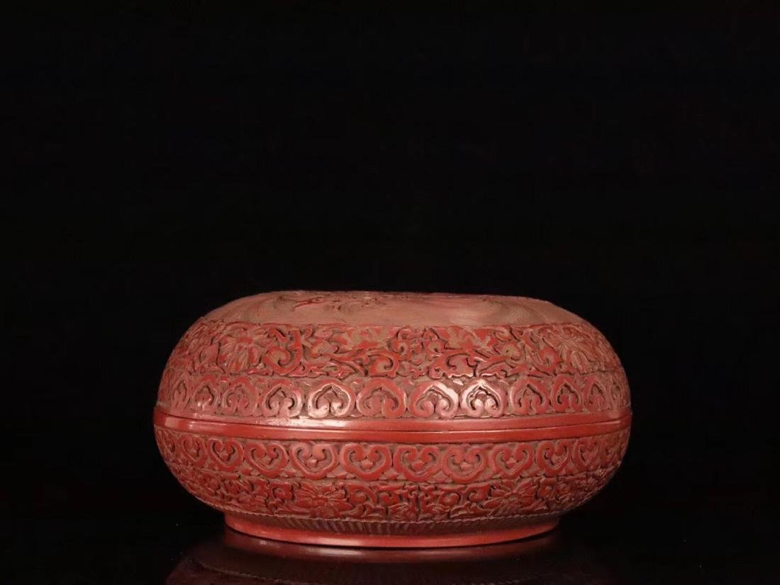 A RED LACQUE CARVED DRAGON PATTERN PEN BOX - 2