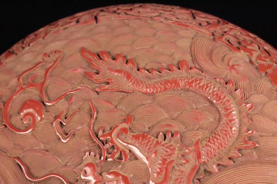 A RED LACQUE CARVED DRAGON PATTERN PEN BOX - 6