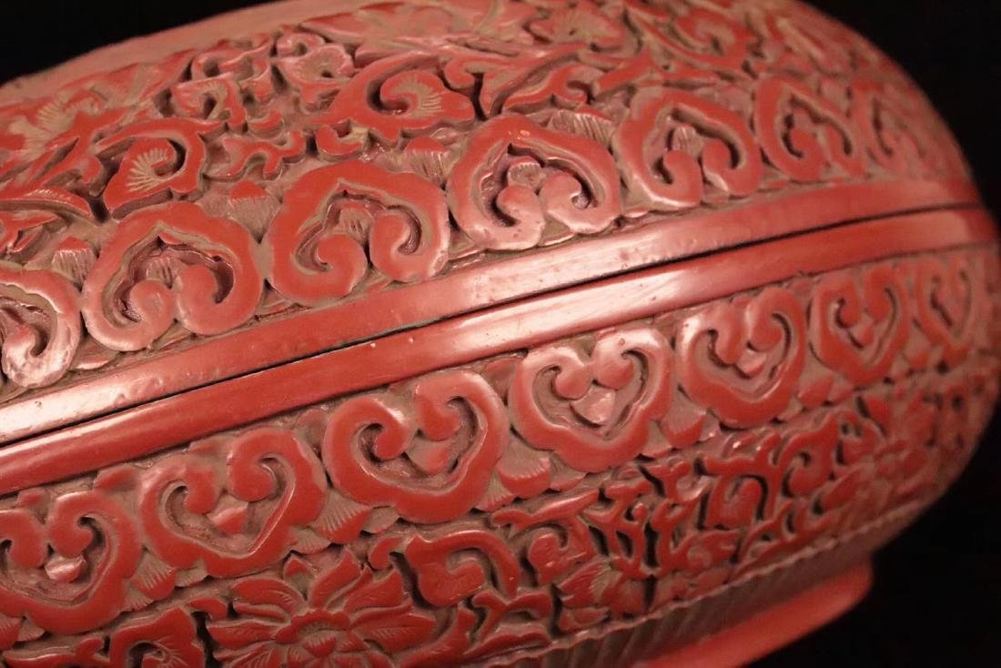 A RED LACQUE CARVED DRAGON PATTERN PEN BOX - 8