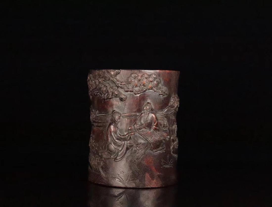 AN OLD CHENXIANG WOOD CARVED BRUSH POT