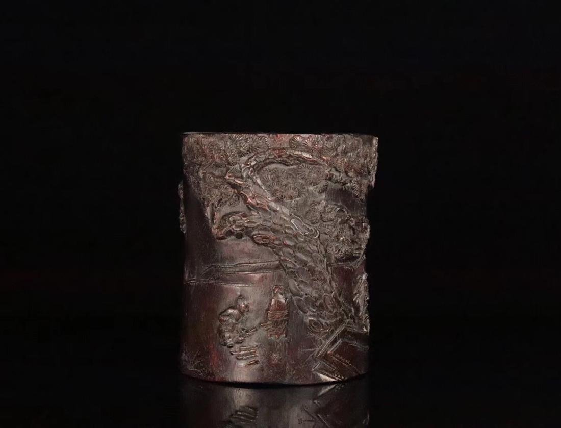 AN OLD CHENXIANG WOOD CARVED BRUSH POT - 3