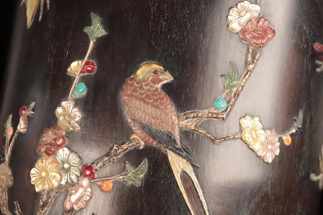 A ZITAN WOOD CARVED BIRD PATTERN PENHOLDER - 6