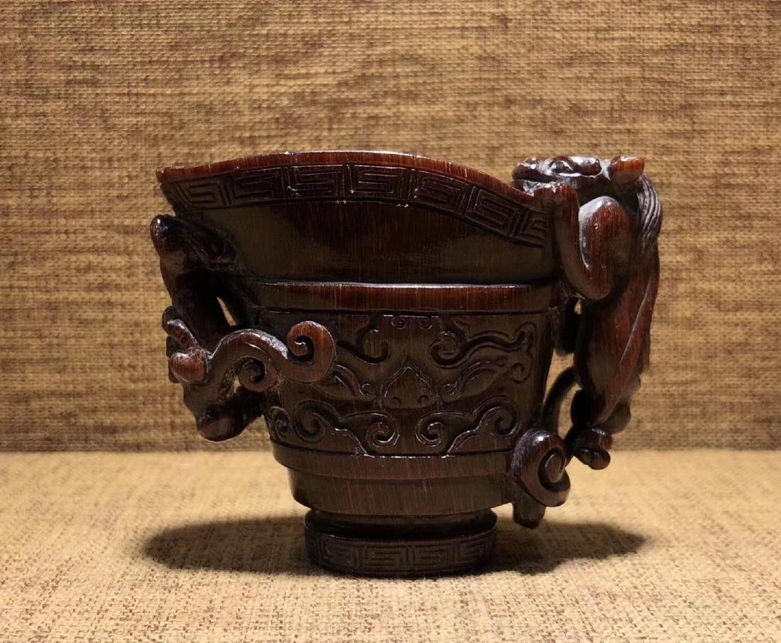 A CHI-TIGER SHAPED JUE CUP - 3