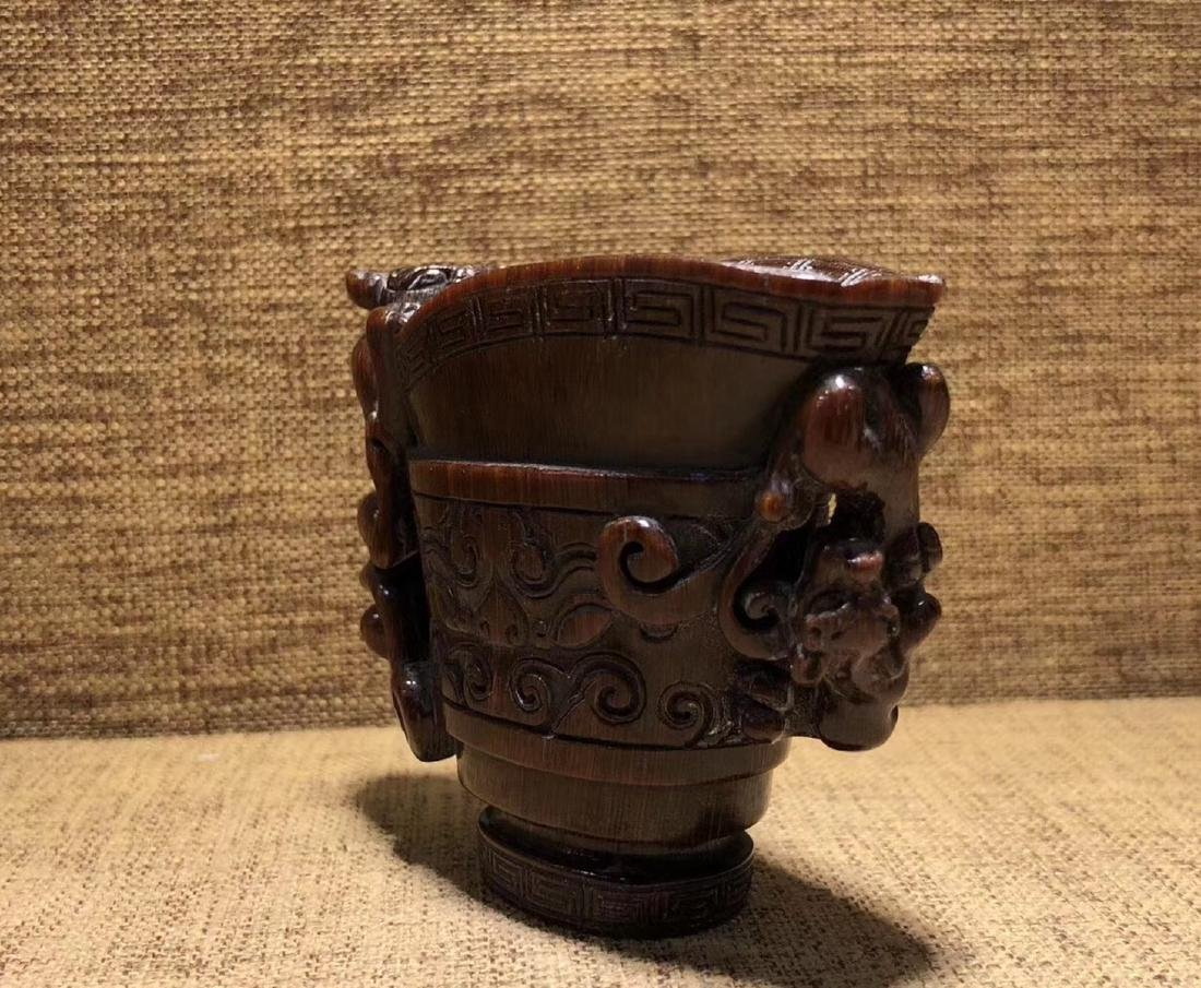 A CHI-TIGER SHAPED JUE CUP - 4