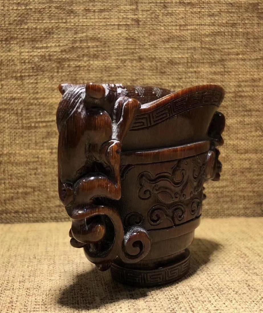 A CHI-TIGER SHAPED JUE CUP - 6