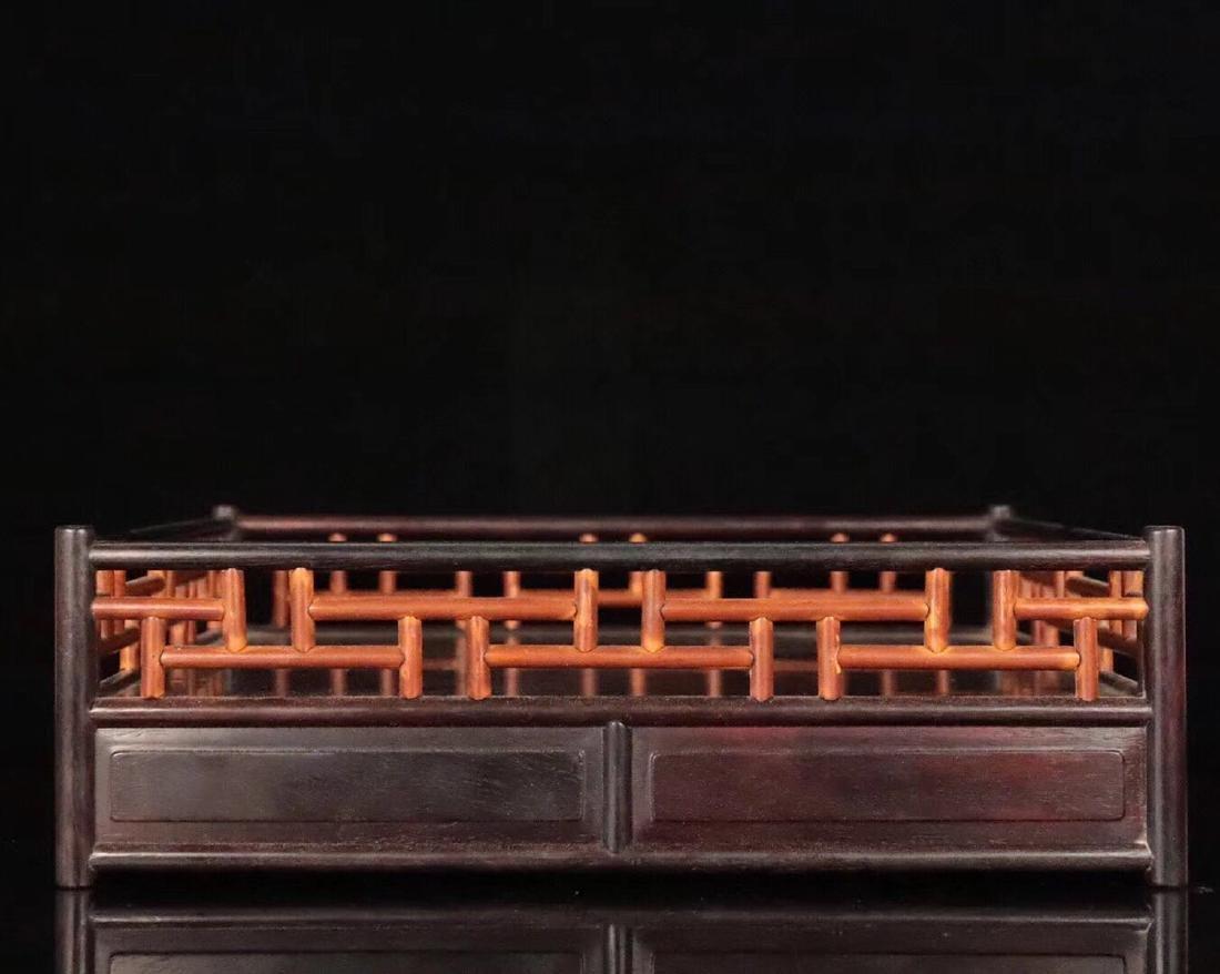 A ZITAN AND HUANGHUALI WOOD CARVED TEA PLATE - 2
