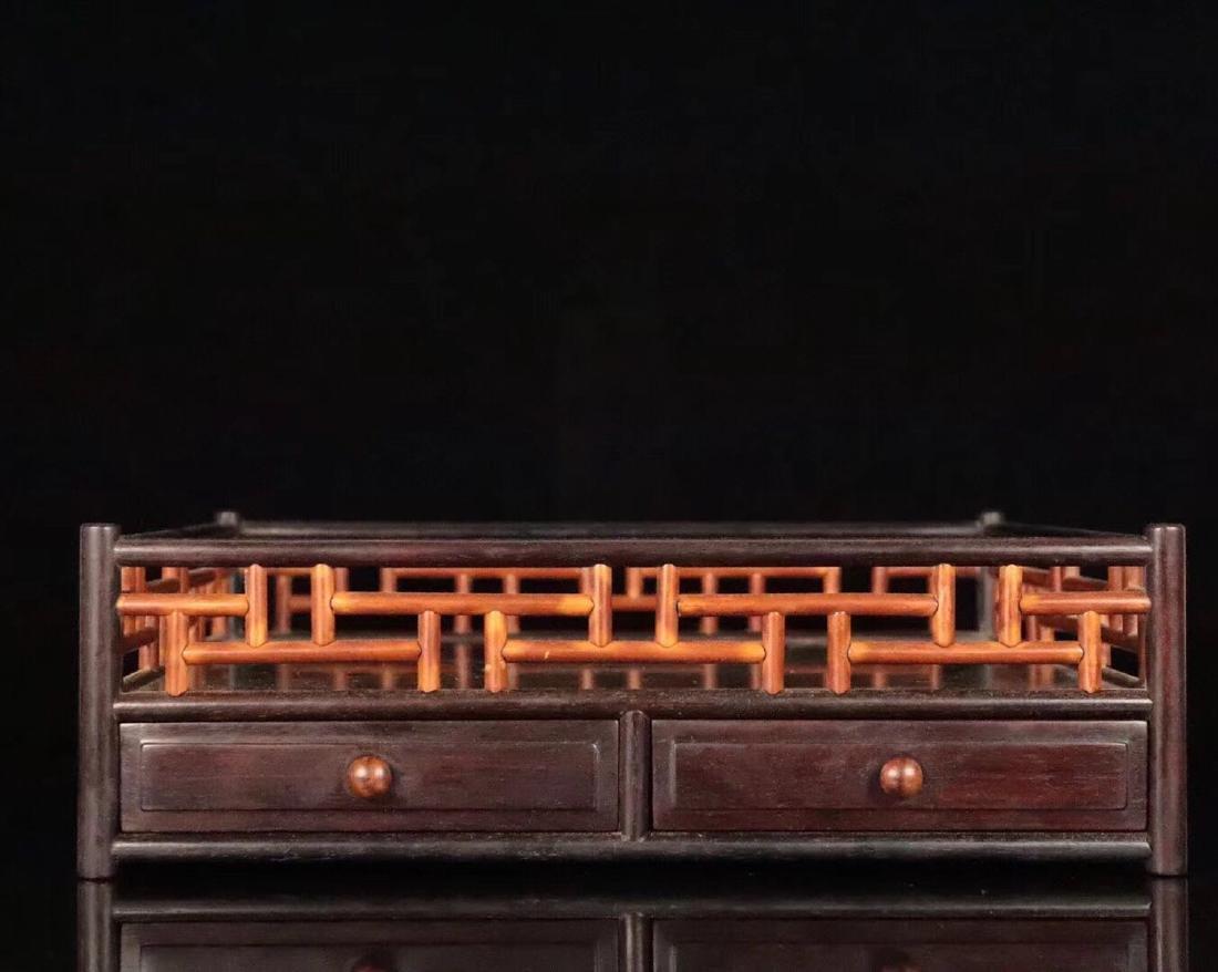 A ZITAN AND HUANGHUALI WOOD CARVED TEA PLATE - 3