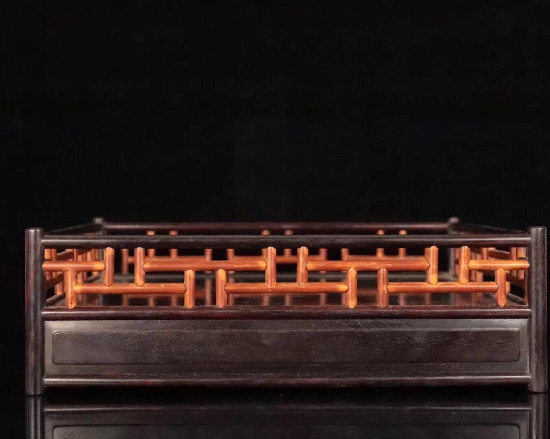 A ZITAN AND HUANGHUALI WOOD CARVED TEA PLATE - 5