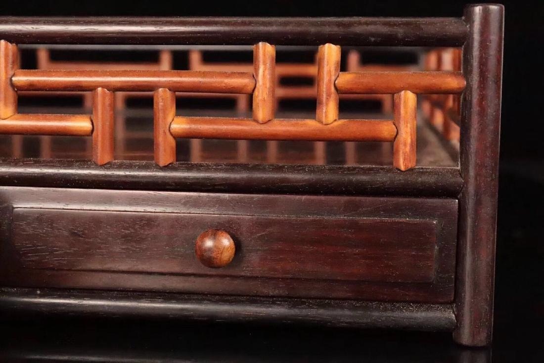 A ZITAN AND HUANGHUALI WOOD CARVED TEA PLATE - 6