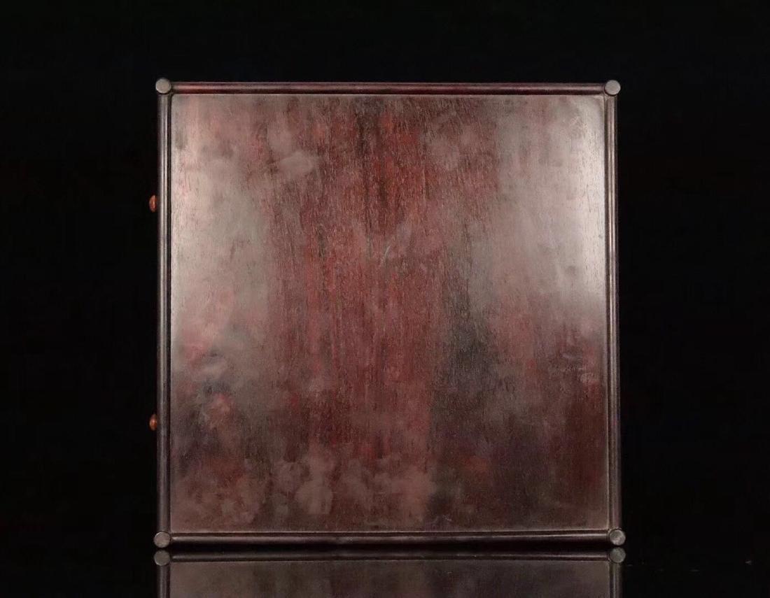 A ZITAN AND HUANGHUALI WOOD CARVED TEA PLATE - 9