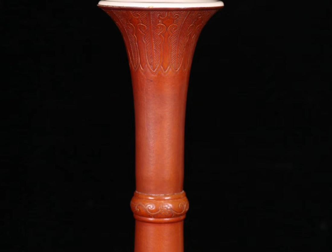 A GOURD CARVED LONG NECK VASE - 3