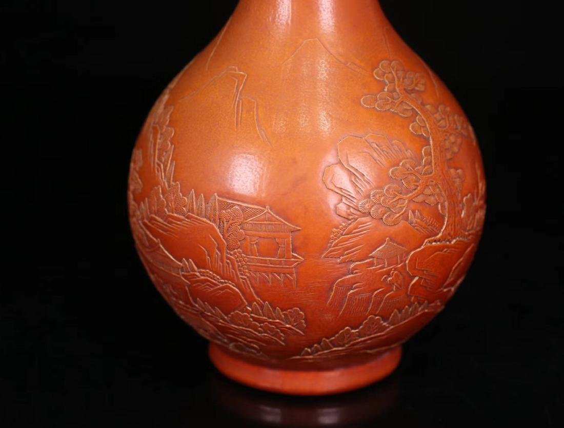 A GOURD CARVED LONG NECK VASE - 9