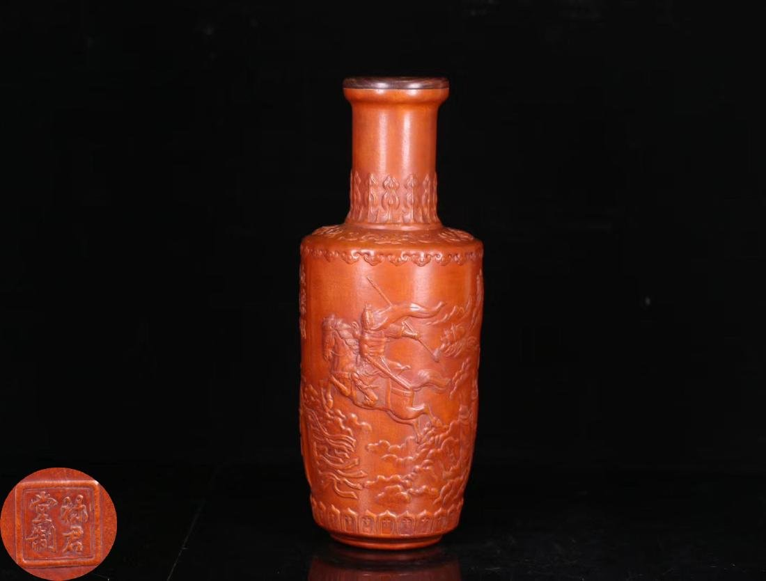A GOURD CARCED CHARACTER POETRY PATTERN VASE