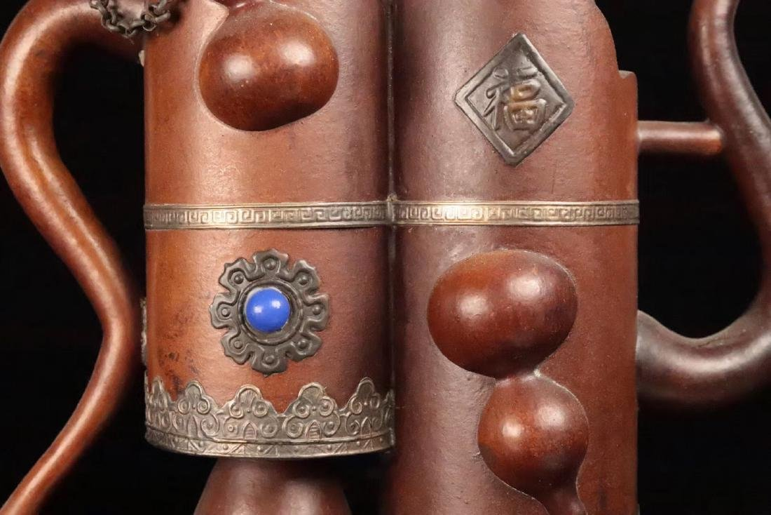 A GOURD DECORATED COPPER POT - 9