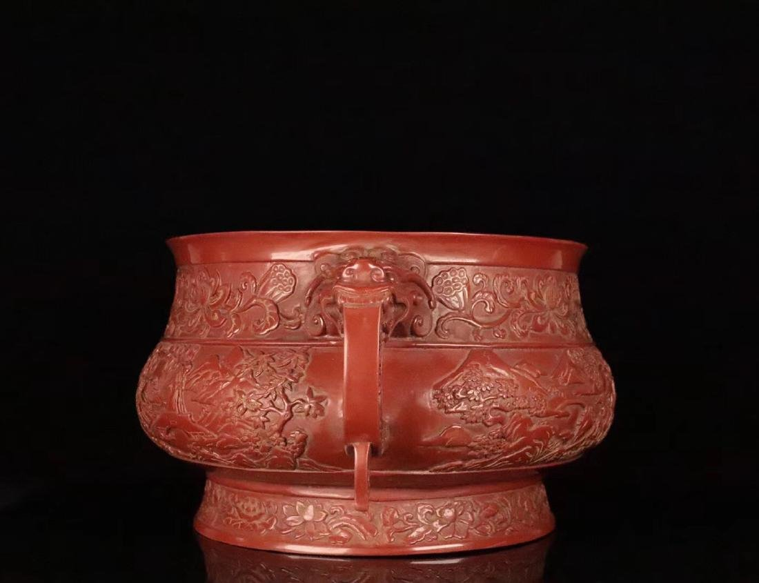 A RED LACQUE CARVED CHARACTER PATTERN CENSER - 2