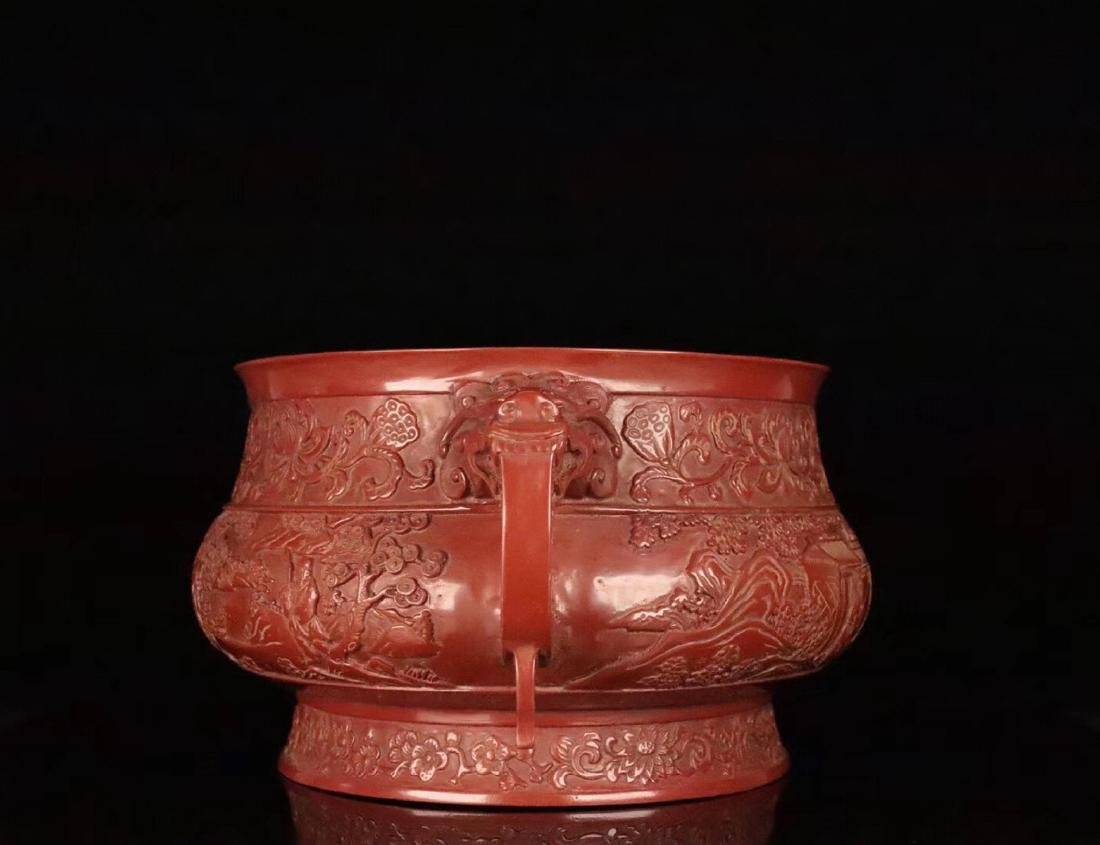 A RED LACQUE CARVED CHARACTER PATTERN CENSER - 4
