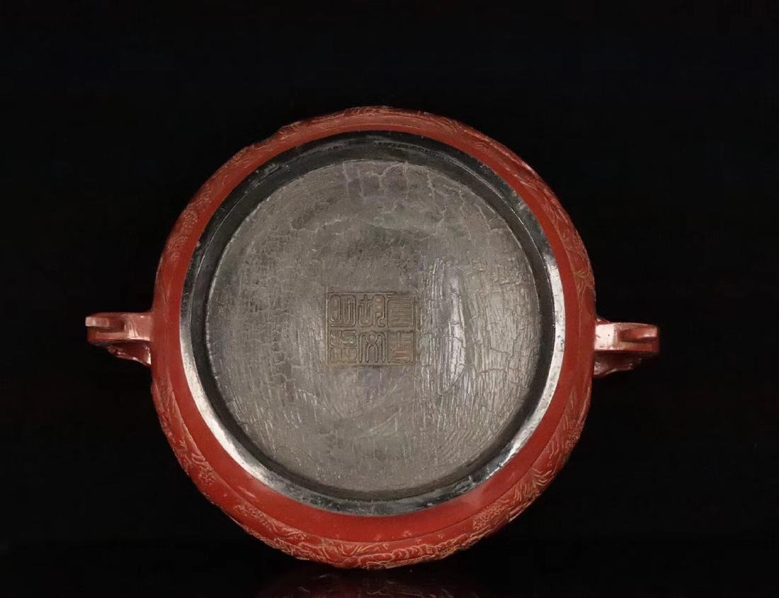 A RED LACQUE CARVED CHARACTER PATTERN CENSER - 6