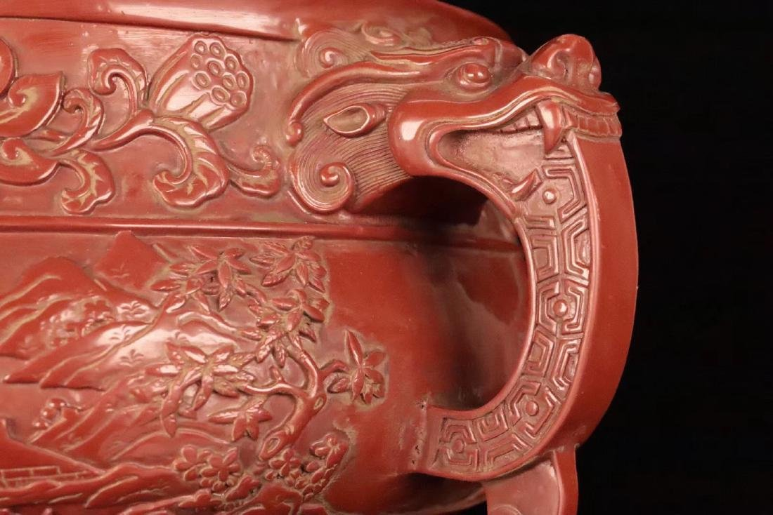 A RED LACQUE CARVED CHARACTER PATTERN CENSER - 8