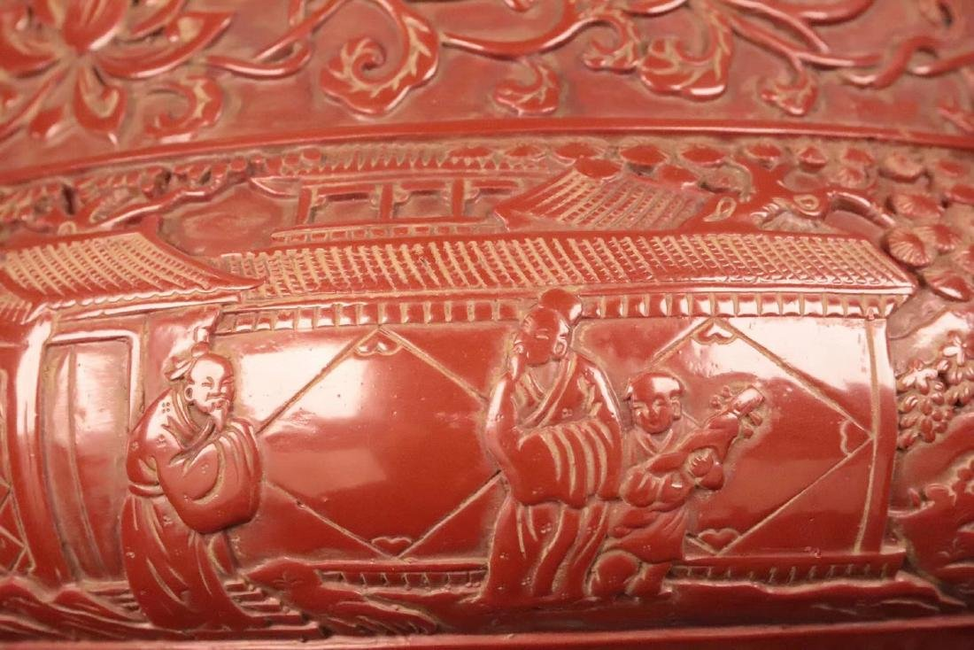 A RED LACQUE CARVED CHARACTER PATTERN CENSER - 9