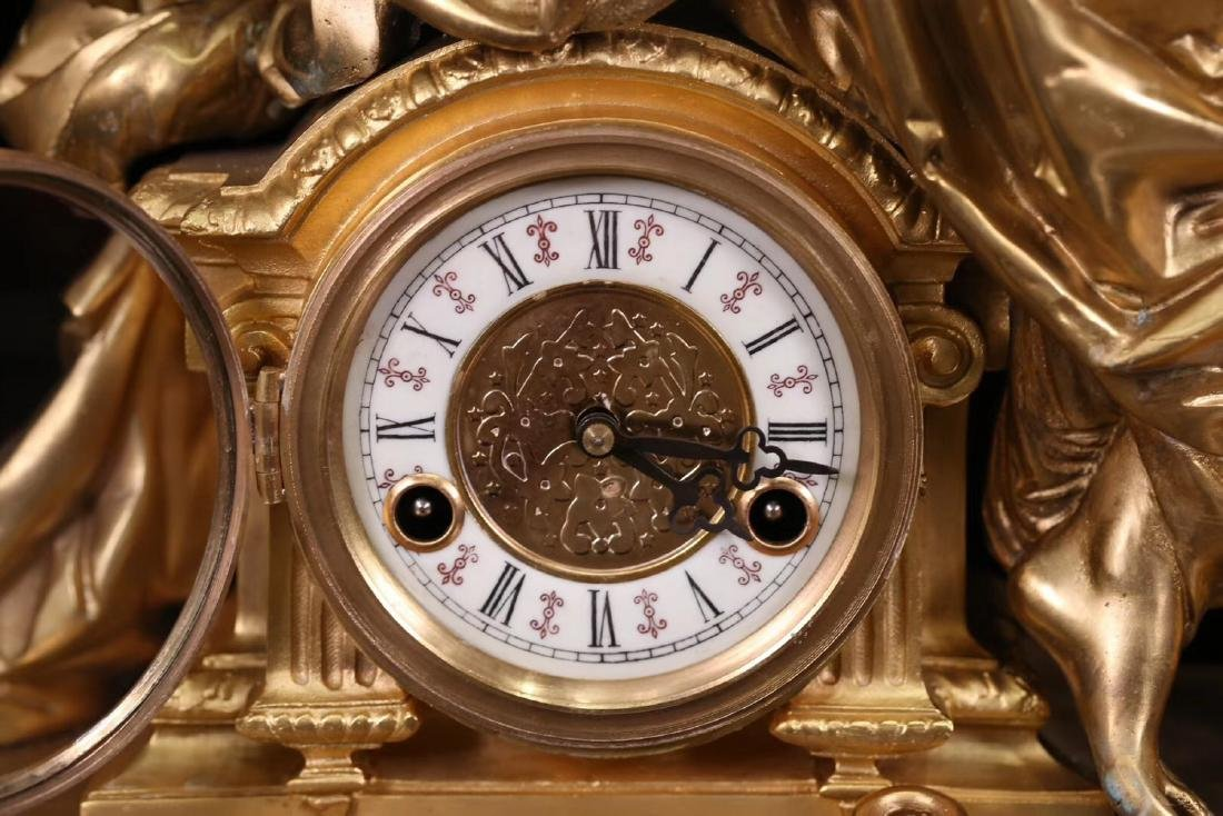 SET GILT COPPER CLOCK AND CANDLE HOLDERS - 4