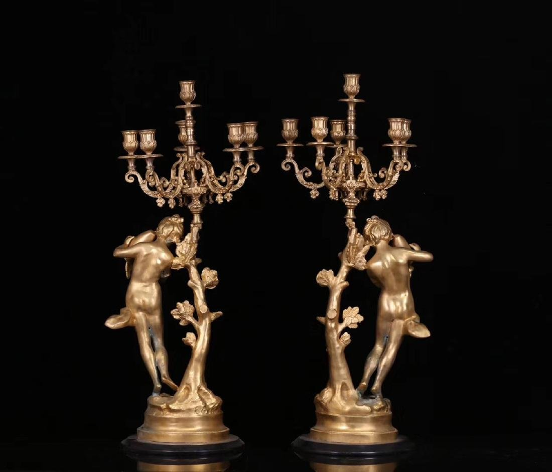 SET GILT COPPER CLOCK AND CANDLE HOLDERS - 7