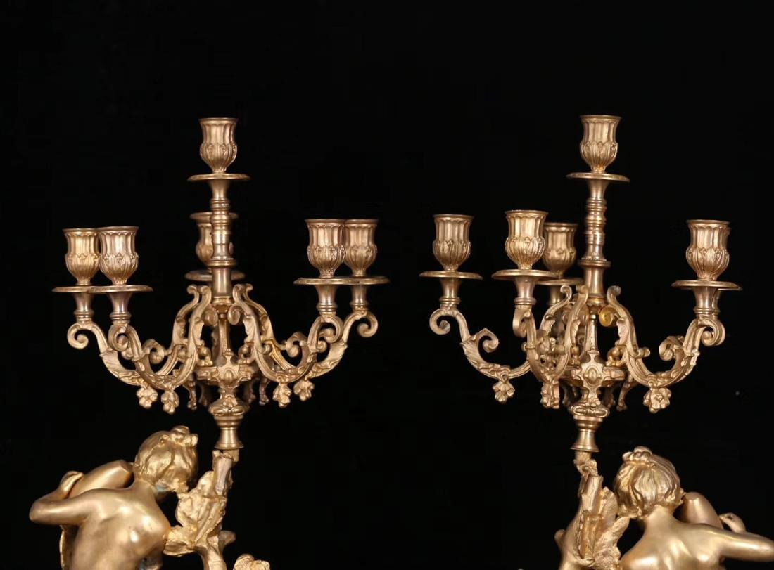 SET GILT COPPER CLOCK AND CANDLE HOLDERS - 8