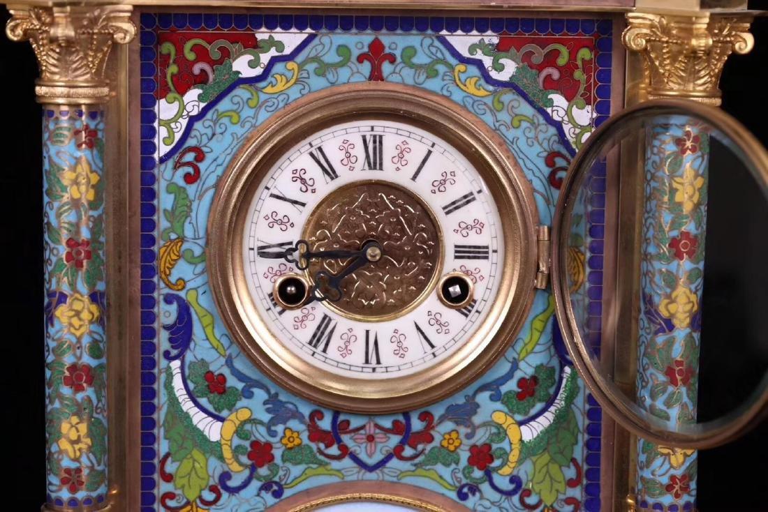 A CLOISONNE CLOCK - 6