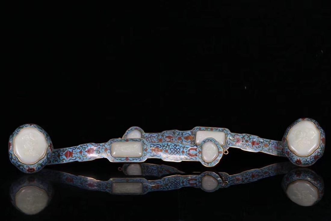 PAIR CLOISONNE&HETIAN JADE DECORATED RUYI ORNAMENTS