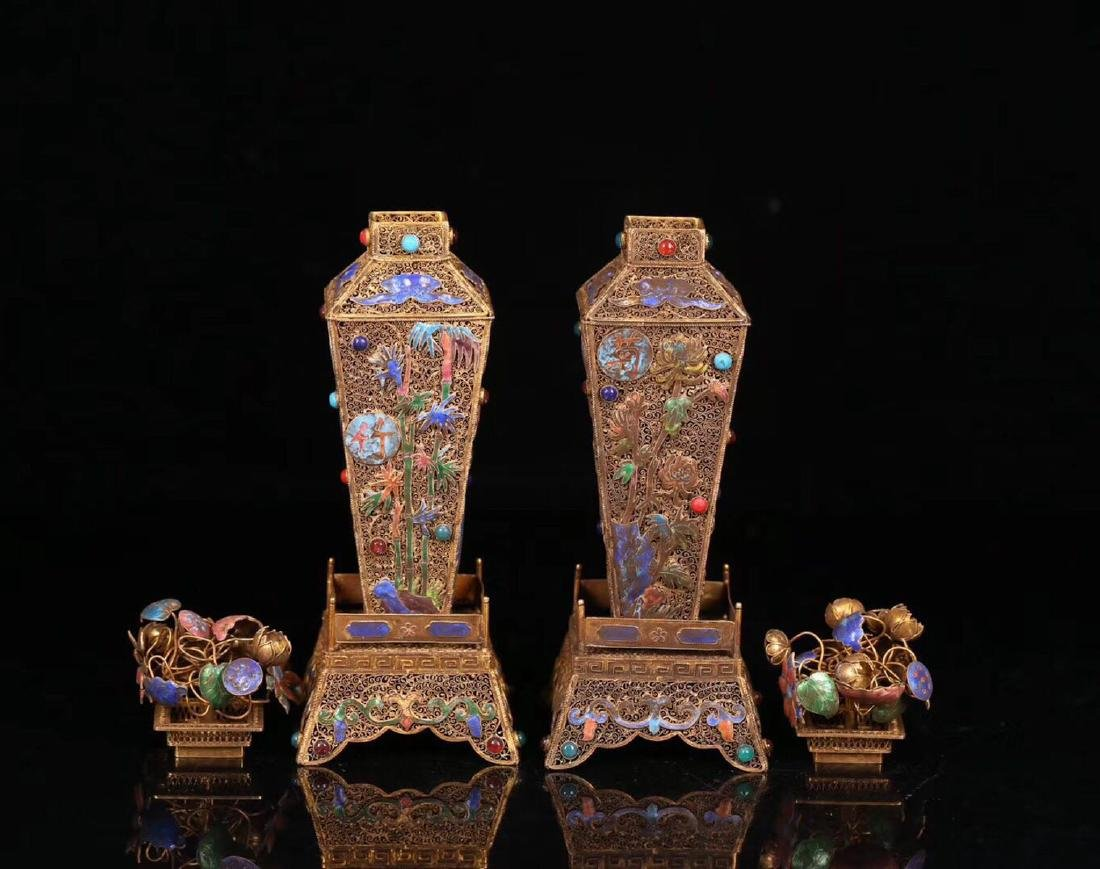 PAIR GILT SILVER WRAPPED INFLORESCENCE FILIGREE VASE