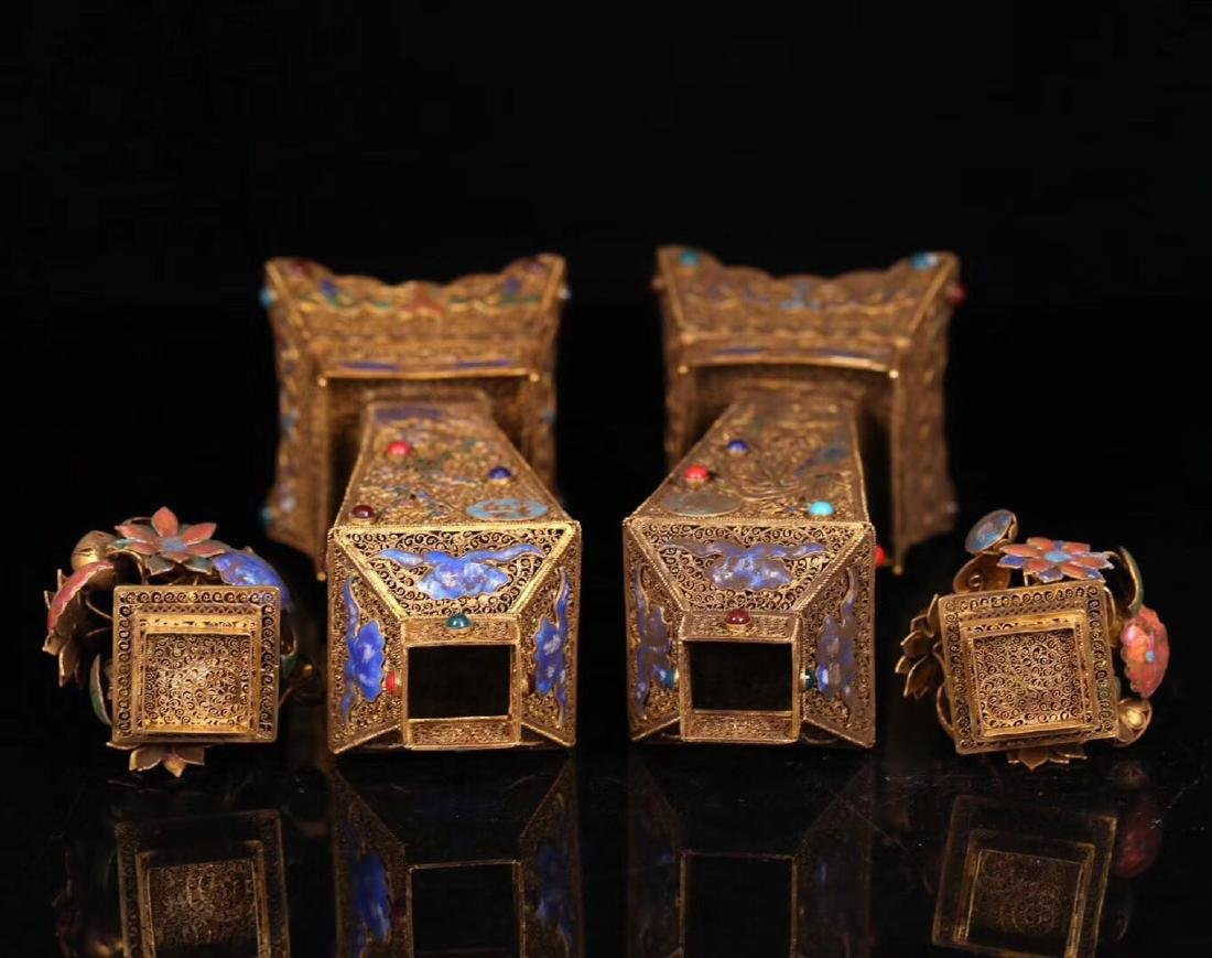 PAIR GILT SILVER WRAPPED INFLORESCENCE FILIGREE VASE - 5