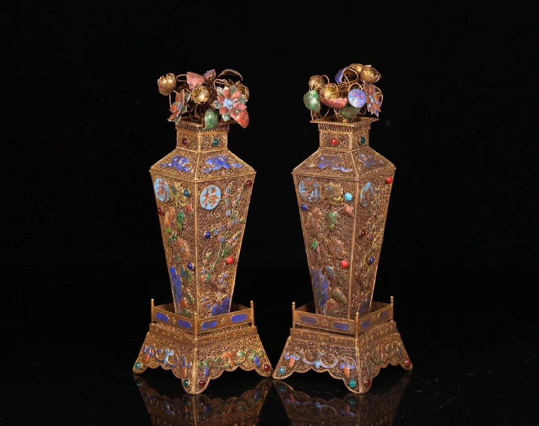 PAIR GILT SILVER WRAPPED INFLORESCENCE FILIGREE VASE - 7