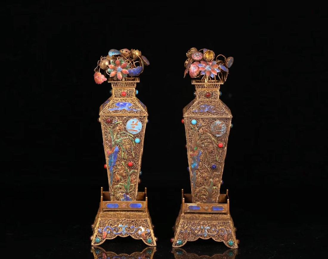 PAIR GILT SILVER WRAPPED INFLORESCENCE FILIGREE VASE - 9