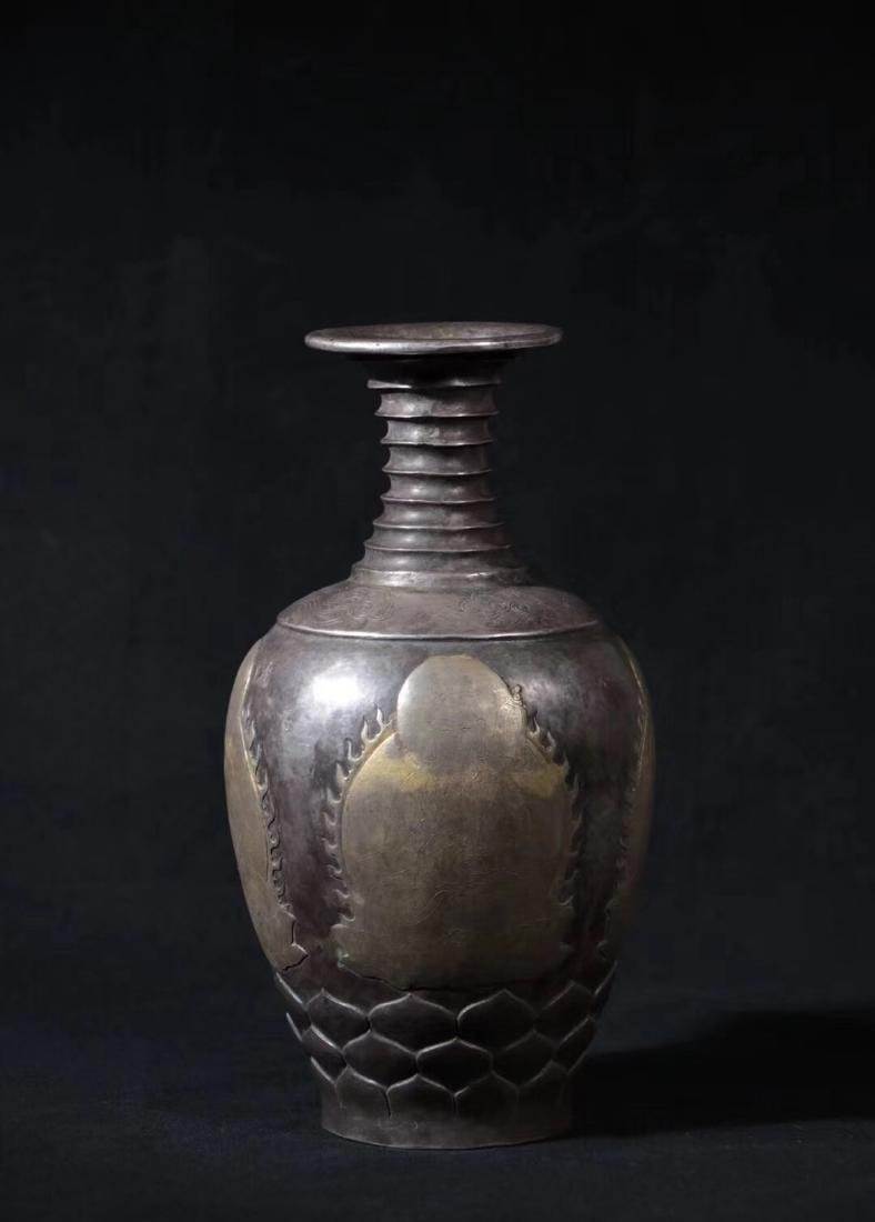 A GILT SILVER BAMBOO SHAPED NECK VASE