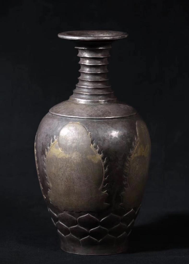 A GILT SILVER BAMBOO SHAPED NECK VASE - 2