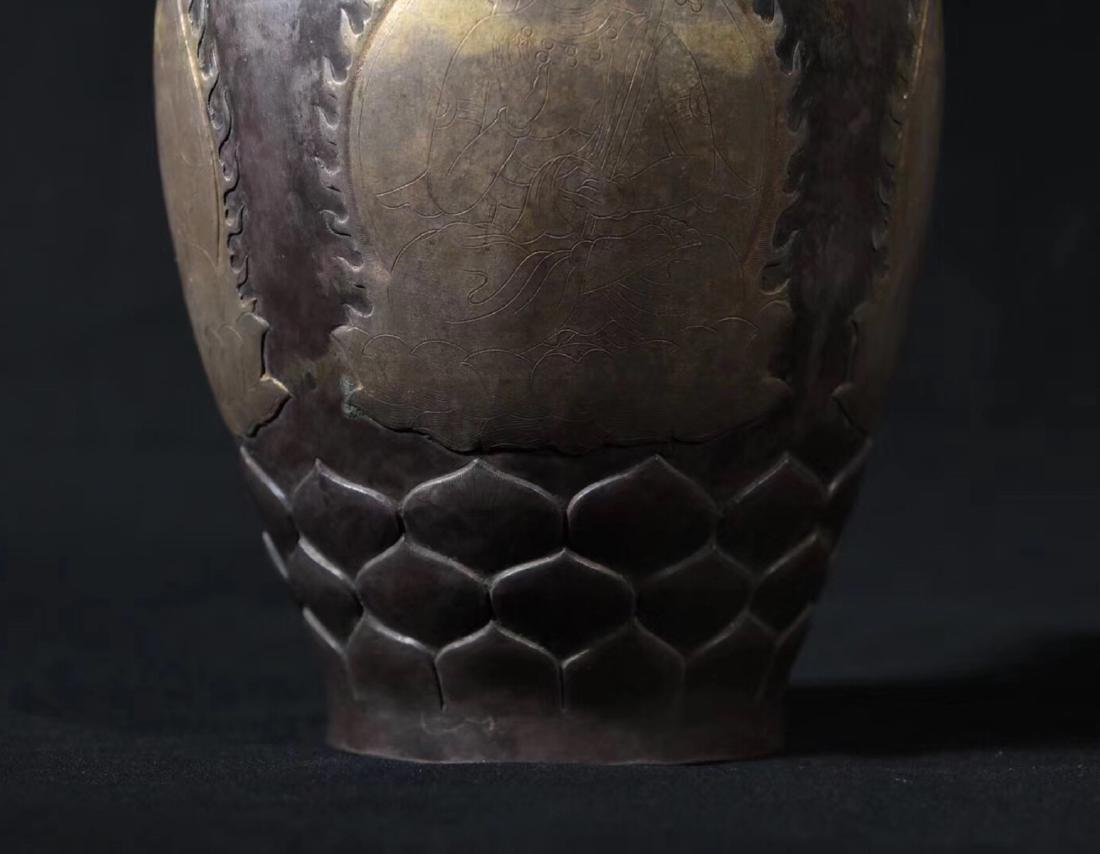 A GILT SILVER BAMBOO SHAPED NECK VASE - 6