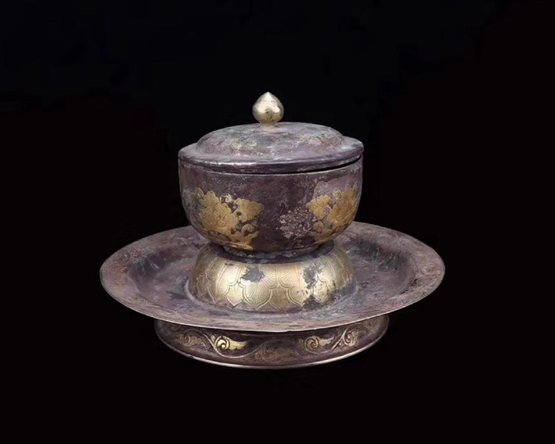 A GILT SILVER TRAY AND CUP - 2
