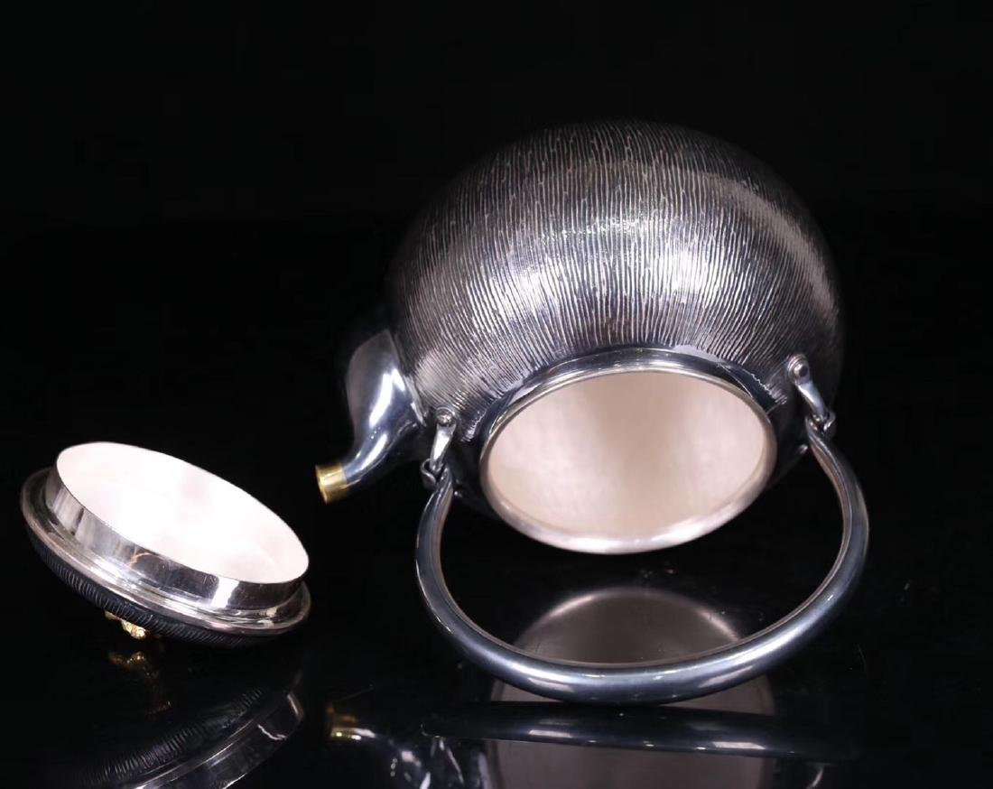 AN OLD SILVER POT - 5